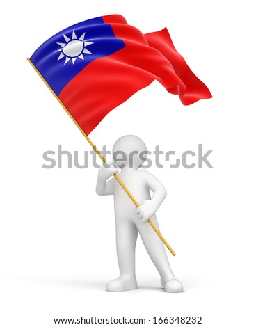 Man and Taiwan flag (clipping path included) - stock photo