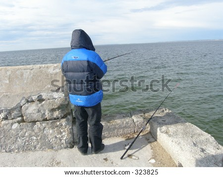 Man and the sea - stock photo