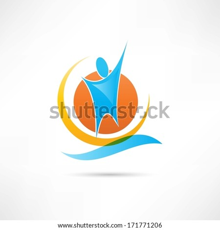 man and the sun abstraction icon - stock photo