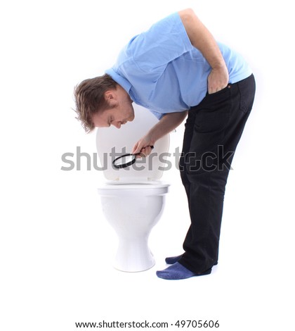 man and toilet - stock photo