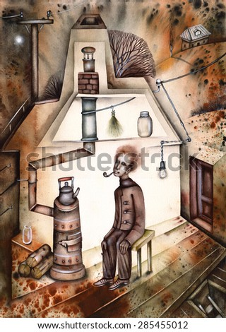 Man and vintage coal oven - stock photo
