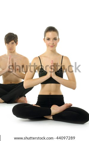 Man and woman are having leisure exercise - stock photo