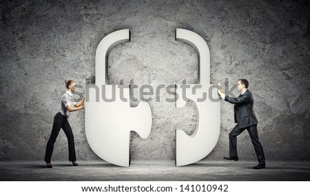 Man and woman connecting symbol. Interaction concept - stock photo