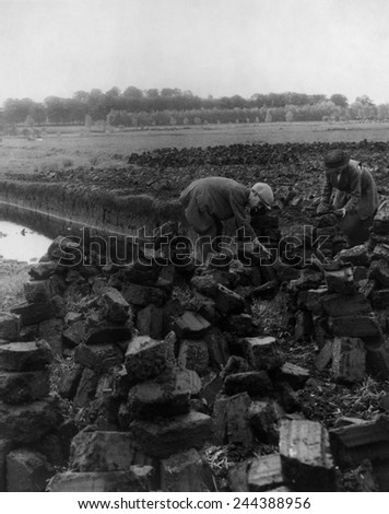 Man and woman digging for peat which, when dried, is a fuel source for heating and cooking. Ireland, between 1880 and 1930. - stock photo