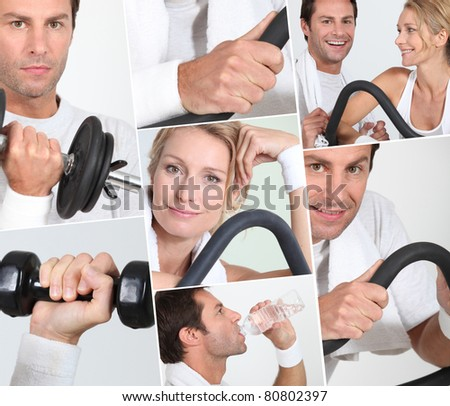 man and woman doing sports - stock photo