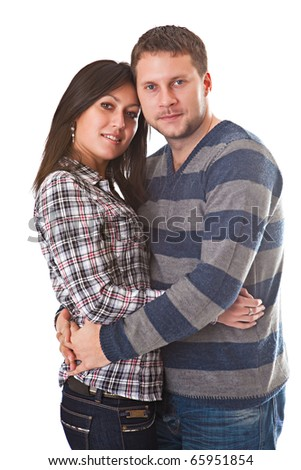 Man and woman embrace isolated on a white background - stock photo