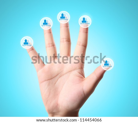Man and woman hands ,social  network - stock photo