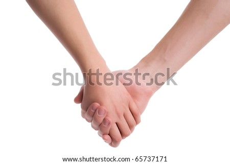 Man and woman hands together - stock photo