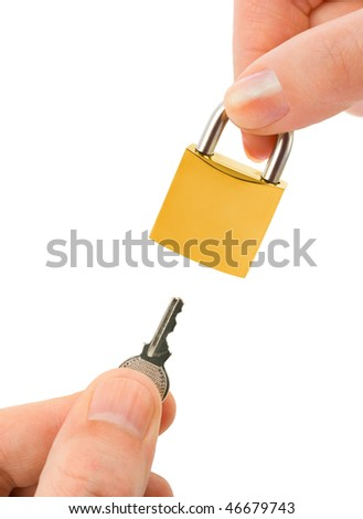 Man and woman hands with key and lock isolated on white background - stock photo