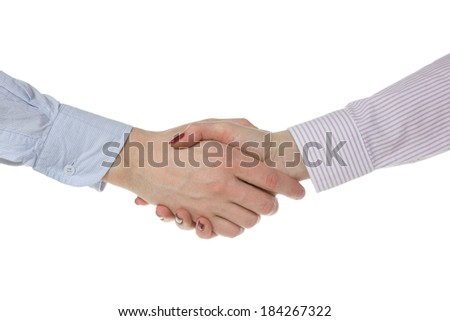 Man and woman handshake, isolated on white background  - stock photo