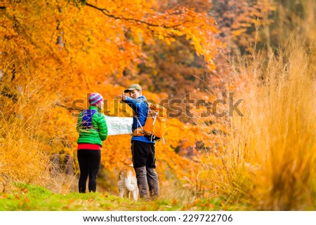 Man and woman hikers hiking in autumn colorful forest with akita dog. Young couple looking at map and planning trip or get lost. - stock photo