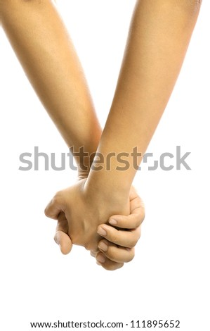 Man and woman holding hand together isolated over white background - stock photo