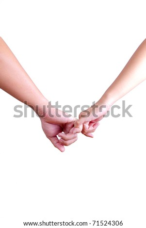 man and woman holding hands isolated on white background - stock photo