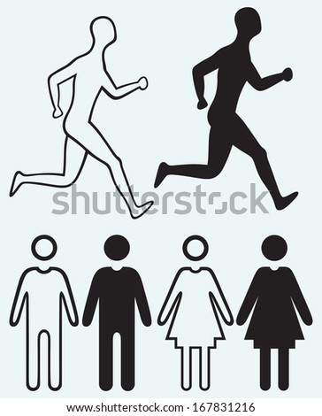 Man and woman icon. Running man isolated on blue background. Raster version - stock photo