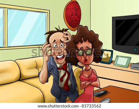 man and woman in a living room, he looks like very annoyed - stock photo