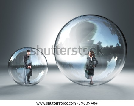 man and woman in different glass 3d sphere - stock photo