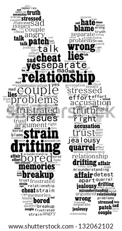 Man and woman in disagreement: text cloud - stock photo