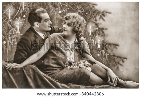 man and woman in love celebrated with christmas tree romantic sentimental vintage picture with original - Victorian Christmas Trees