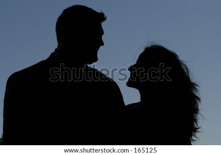 Man and Woman in love looking at each other - stock photo