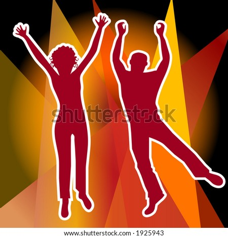 man and woman jumping illustration - stock photo