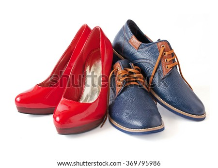 Man and woman leather shoes isolated on white background