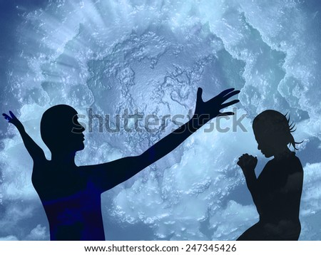 Man and woman pray and praise to god   - stock photo