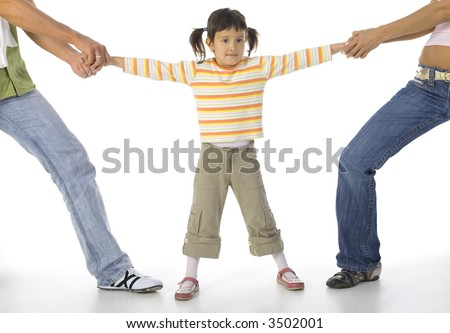 Man and woman quarrelling about little, confused girl. White background, whole body of little girl