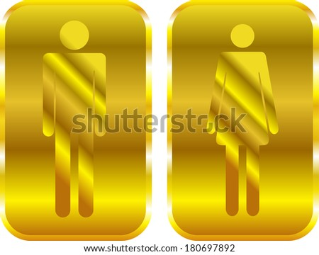 Man and Woman restroom golden signs. Raster version - stock photo