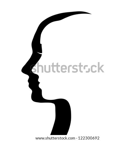 man` and woman`s heads silhouettes - stock photo