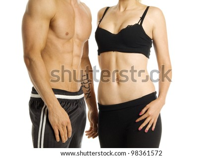 Man and woman's torso isolated on a white background - stock photo