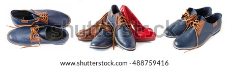 Man and woman shoes set isolated on white background. Sales concept