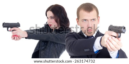 man and woman shooting with guns isolated on white background - stock photo