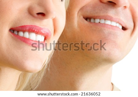 Man and woman smile. Over  white background - stock photo