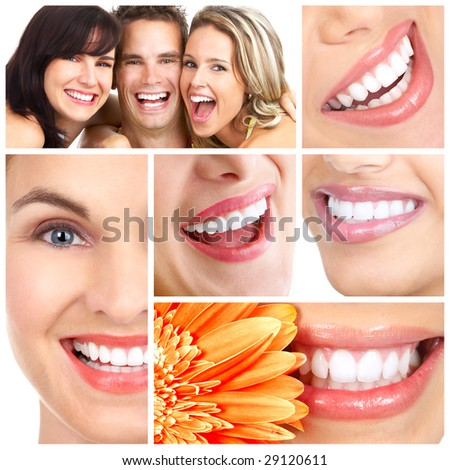 Man and woman smiles. Over  white background