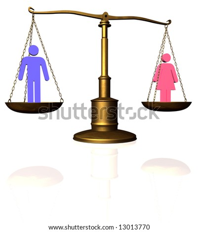 Man and woman symbol compared on a scale - stock photo