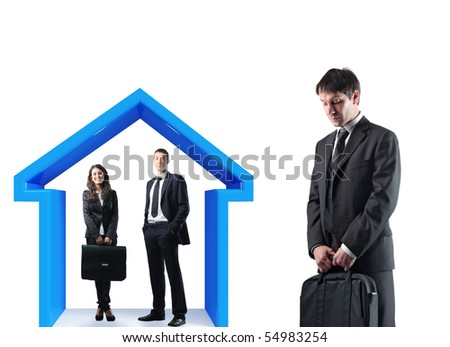 man and woman under 3d house with sad businessman standing - stock photo