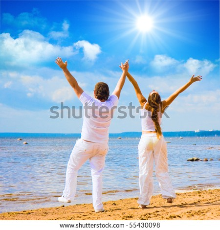 Man and Woman under the sky - stock photo