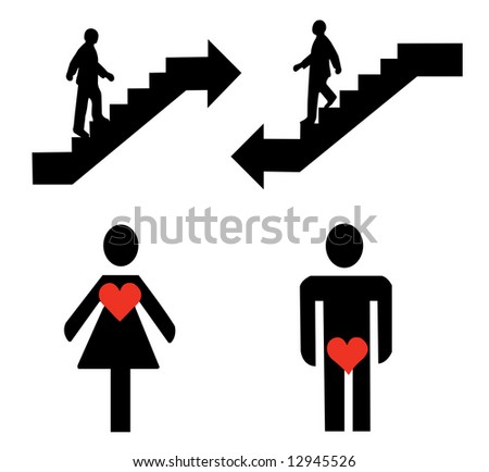 Man and woman, up and down signs