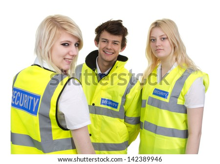 Man And Woman Wearing High-visibility Jacket Isolated Over White Background