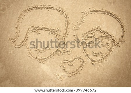 man and women drawing on the sand , orange color