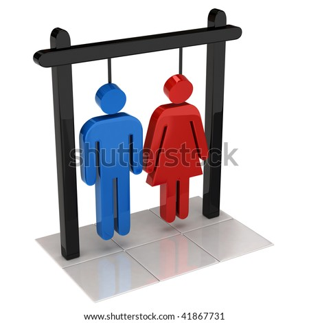 man and women hanging in a rope loop - stock photo