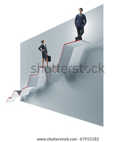 man and women on 3d growing chart - stock photo