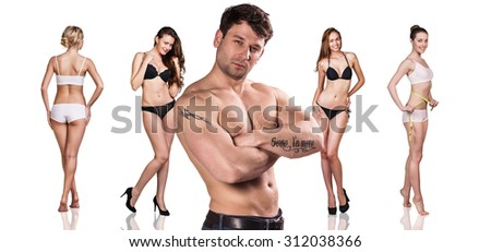 Man and women with perfect bodies on the white background