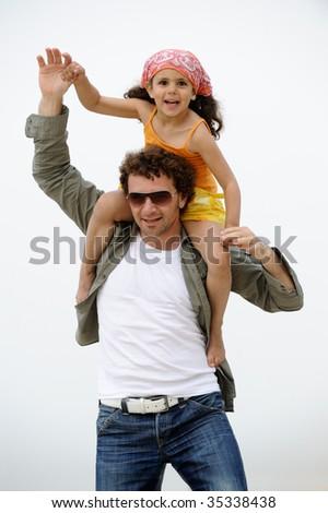 Man and young boy having fun - stock photo