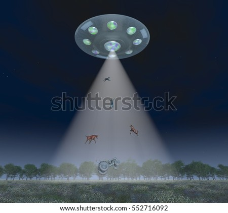 Man, animals and tractor in the light beam of a flying saucer Computer generated 3D illustration