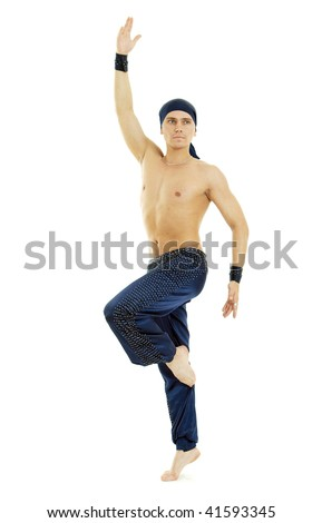 Man arabic dance style bellydance posing on white background