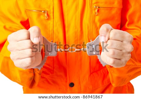 Man arrested for his crimes - stock photo