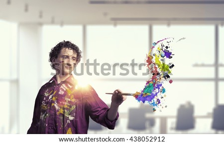 Man artist painting with brush . 3D render - stock photo