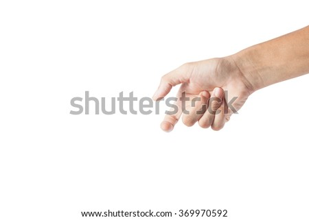 Man asia hand sign isolated on white background,Hand of a male to hold card, mobile phone or other,with clipping path - stock photo