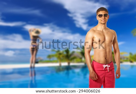 Man at at the pool. Collage. - stock photo